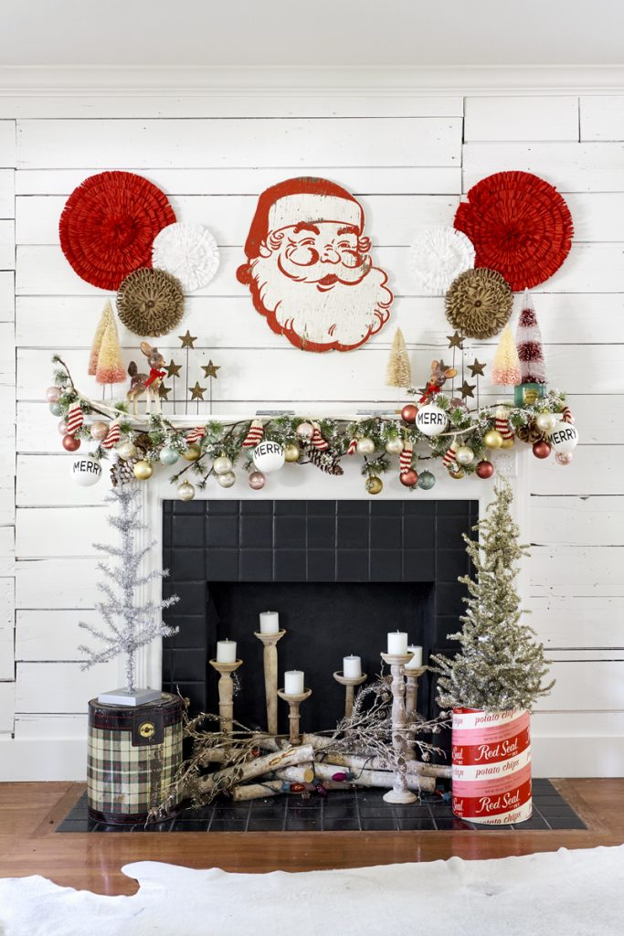 christmas fireplace vintage