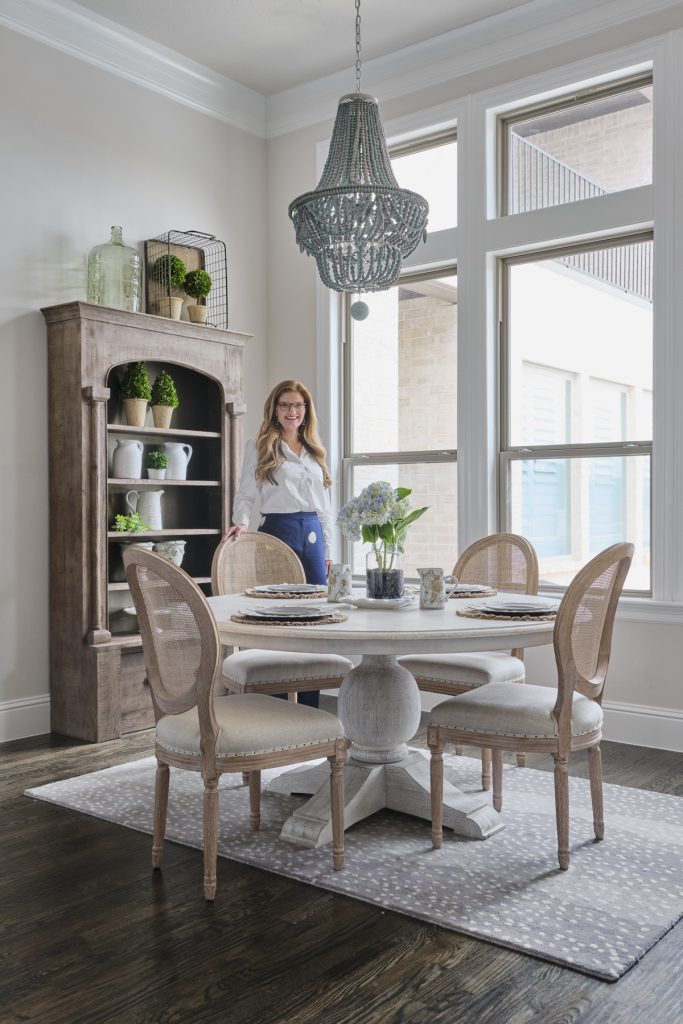 Courtney in farmhous-style dining room