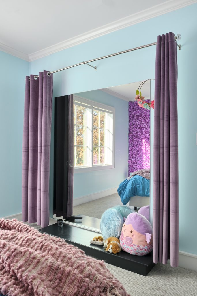 girls bedroom with play stage